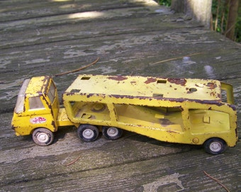 Vintage Yellow Tonka Car Hauler.Small Tonka Truck.Vintage Tonka Truck.Collectible Toy Truck.Yellow Toy Trucks.1970's Boys Toys.Tonka Toys.