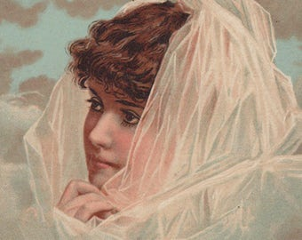 Lady With A Veil - The Prudential Insurance Company Original Antique Trade Card