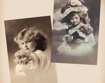 Girl With A Doll - 2 New 4x6 Vintage Image Photo Prints - GD19-10
