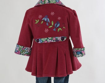 Girls Easter Jacket with Peplum Size 2 Embroidered Blue Birds Dusty Rose Pink Corduroy Hooded Coat Spring Fall  Back To School Ready To Ship