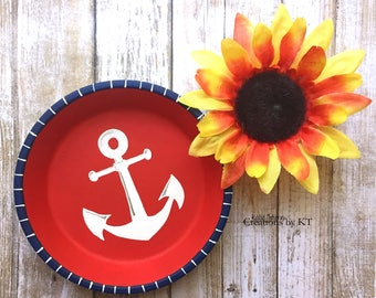 Anchor Ring Dish Nautical Jewelry Dish Key Dish Change Holder Hand Painted READY TO SHIP Engagement Ring Dish Trinket Dish Candy Dish Beach