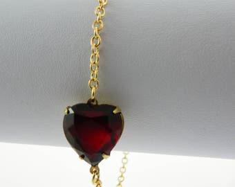 Red Crystal Heart Bracelet