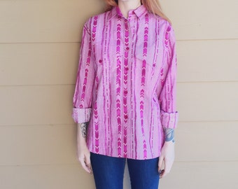 Roper Fuchsia Pink Aztec Southwestern Print Button Up Western Shirt // Women's size Medium M