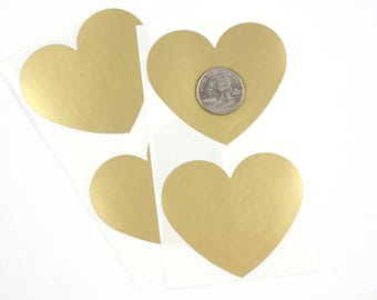 Large Gold Heart 2.36 inch scratch off stickers
