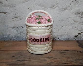 Vintage Ceramic Strawberry Basket Cookie Jar Woven Basket Fruit Basket.