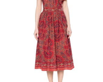 Ethnic Print 1950s Red And Black Dress Size: 4