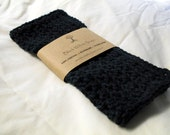 Washcloth, Handmade Crochet Washcloth, Cotton Washcloth Set, Stocking Stuffer, Housewarming Gift, Black