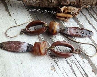Latte- brown tan cream enamel paddle earrings. vintage Lucite beads. delicate long. gypsy bohemian enamel statement. Jettabugjewelry