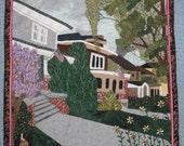 Grandma's Neighborhood, City Scene of a Ludington, Michigan Neighborhood, Handmade Wall Hanging Art Quilt