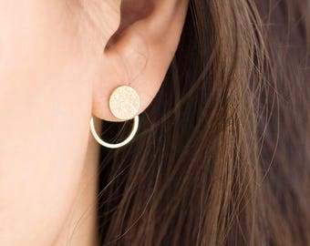 Textured Disc Front Stud Circle Hoop Ear Jacket Earrings, Silver / Gold / Pink Gold, Geometric Jewelry, Bridesmaid Girlfriend Gift, de gj