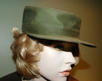 Vintage WWII US Army Olive Drab Stand Up Cap manufactured by Geo H Mann? - 1940's - from DustyMillerAntiques