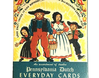 PENNSYLVANIA DUTCH CARDS Boxed Assortment of 11 Lithographic Printed Cards in Original Box by Yorkraft
