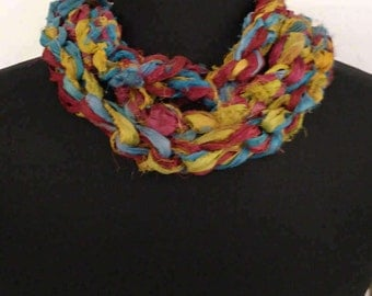 ResQ Sari Ribbon Scarf Necklace in Golds, Reds, Turquoise