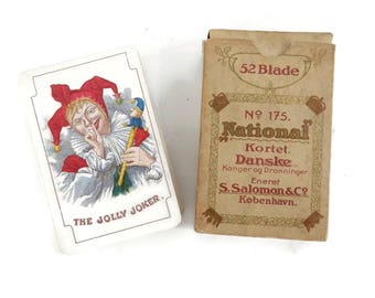 Antique Deck of Playing Cards No. 175 National by S. Salomen of Kobenhaven for Bridge or Whist