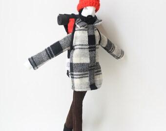 Mountain backpacker art doll, ooak backpacking guy doll, bearded man doll, lumberjack fabric doll, traveller boy doll, hipster hiking buddy