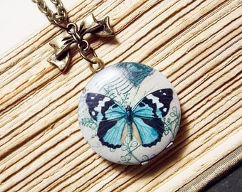 Blue Butterfly Locket