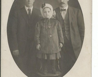 Vintage 1910's Photograph Postcard of 2 Men and a Little Girl in Hat and Coat