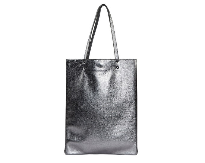 Antique silver leather tote, leather handbag, silver leather tote bag