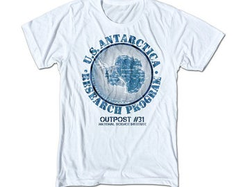 Outpost 31 T Shirt - Retro Fitted Cotton/Poly Graphic Tee for Men & Women - U.S Antarctica Research Program - 80's, Science Fiction, Horror