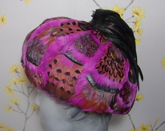 Vintage 1960s Feather Hat Formed Pillbox Rounded Pheasant Hat Multicoloured Feathered Hat Bright Pink Hat