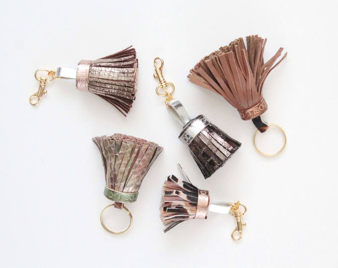 Natural leather key charm-animal print texture snake-genuine leather tassel-metal key fobs -bag charms - Choose your color - Ready to Ship