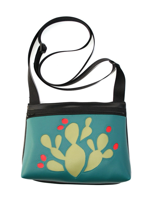 Cactus, green, aqua vinyl, boxy cross body, vegan leather, zipper top