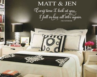 THE NOTEBOOK Wall Decal Quote w/ Personalized Couples Names - Everytime I look at You I fall in LOve All Over Again  note book