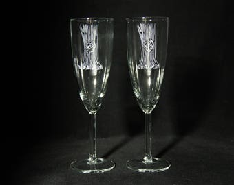 Romantic Personalized Carved Tree Bark Etched Champagne Flute Set of 2  Wedding Toasting Glasses Initials and Date