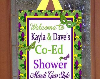 Mardi Gras Party Sign- Personlized Mardi Gras Shower, Birthday,Soiree, DIY
