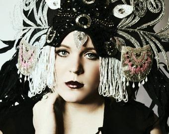 Extravagant Black silver large showgirl Art Nouveau headdress tiara crown headpiece fascinator hat headdress fashion accessory