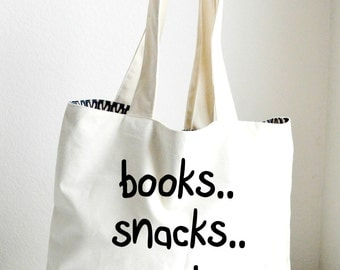 Books Snacks Crumbs personalized tote, Book tote, canvas tote, canvas bag, beach tote, personalized bag