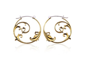 Flower Hoop Earrings - bohemian hoops - tribal hoops - flowering hoop  - brass