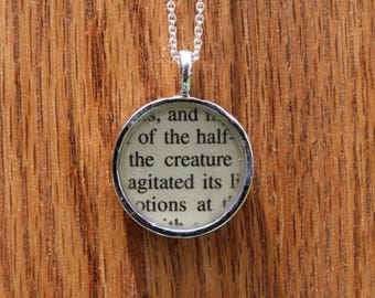 Frankstein Book Page resin protected Pendant Necklace The Creature Mary Shelley Literary Jewelry
