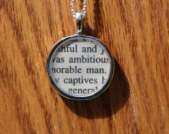 Julius Caesar Book Page Necklace - Marc Antony Friends Romans Countrymen Funeral Speech 1 - Shakespeare