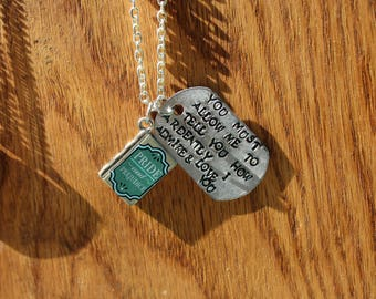 "Pride and Prejudice ""You must allow me to tell you how ardently I admire and love you""  Quote Necklace - Jane Austen Literary Jewelry"