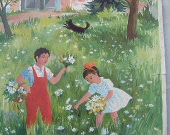 Vintage French Classroom Poster. Helene Poirie, Garden. Flowers. Print, Lithograph.