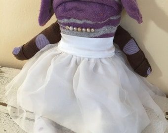 Sock Animal Rag Doll Puppy, Made with Reclaimed Clothing, Hand-Stitched, OOAK, Dress,  Plush Softie, Up-cycled, Sustainable, Eco Friendly