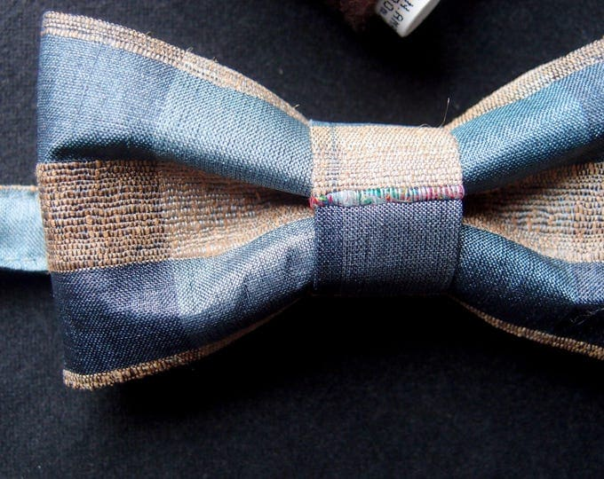 Silk Blue Bow Tie, Unisex Blue Beige Pre tied Bow Tie, Evening Bowtie, Checkered bow tie, Birthday Bow tie, Wedding Bow Tie, Elegant Bow Tie