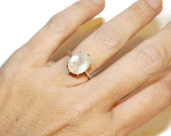 Rutilated Quartz Ring, Ring With Big Stone, Sterling Silver, Ring With Oval Stone