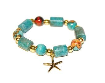 Blue Beaded Bracelet, Starfish Charm Bracelet, Symbolic Jewelry, Stretchable Bracelet, Beach Jewelry