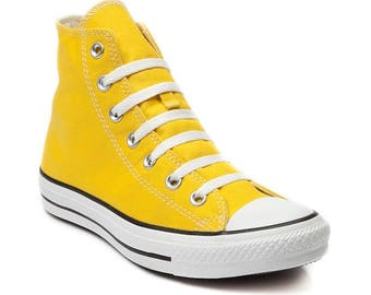 Yellow Converse High Top Men Lady Summer Lemon Custom w/ Swarovski Crystal Rhinestone Bling Wedding Kicks Chuck Taylor All Star Sneaker Shoe
