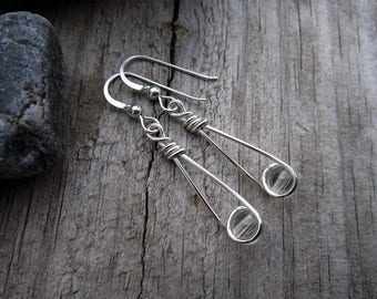 Clear Quartz Sterling Moon Catcher (TM) Earrings - Minimalist
