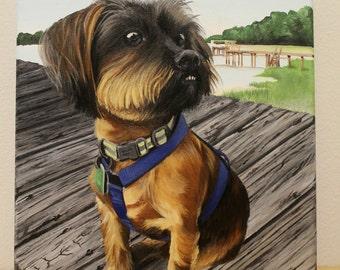 Custom Brindle Shorkie Pet Portrait