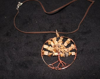 Jasper Tree of Life Pendant on Suede Chain