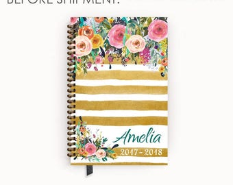 2017 - 2018 Personalized Planner Agenda with Watercolor Floral on Butterscotch Stripes