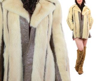 Vintage 60s 70s boho bohemian Blonde mink + leather stroller coat jacket M