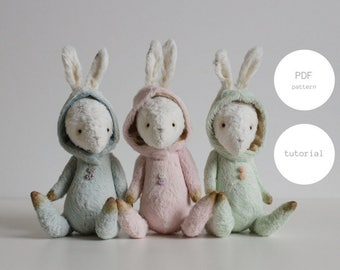 Easter Bunnies Instant Download PDF Sewing Pattern Mohair Stuffed Animal Rabbit Teddy Bear 7 inches Digital Download PDF Tutorial For Woman