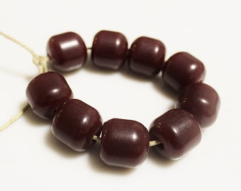 Dark Red Ethiopian Barrel Resin Beads, African Beads, Ethnic Jewelry Supplies (*AG10*)