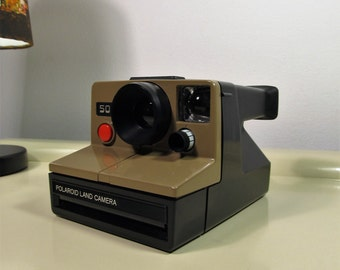 Vintage Polaroid Camera Land Camera 500  - SX-70 type instant film Brown color Retro Camera 70s
