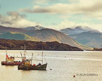 Boat Photography, Landscape Wall Art, Mountain Photography, Nautical Print, Scotland, Ullapool, Boat Art, Landscape Photography